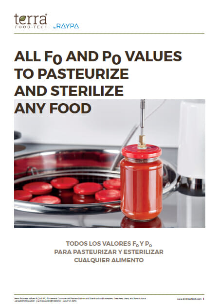 All Fo and Po values to sterilize or pasteurize any food product