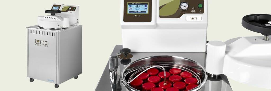 Autoclave de carga superior TERRA Food-Tech® para la cocción, pasteurización y esterilización de alimentos, platos preparados y conservas.
