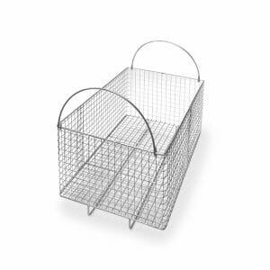 Cesto rectangular en varilla de acero inoxidable